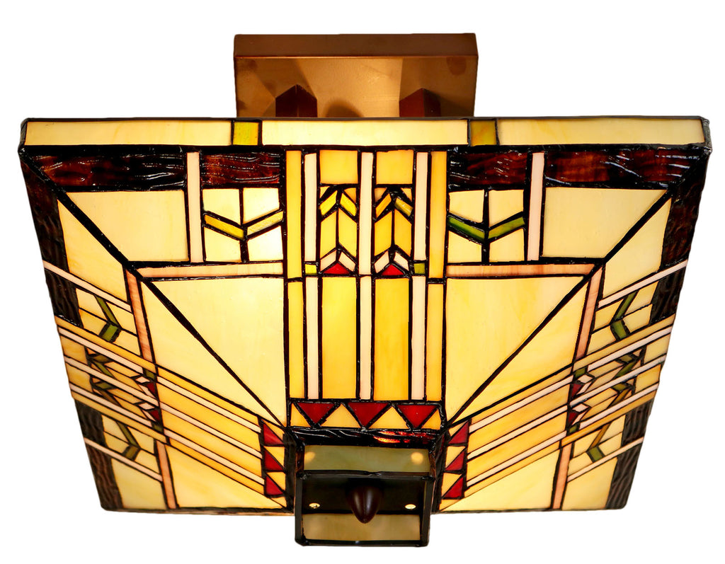 "14"" Mission  Tiffany Style Semi Flush Ceiling Light"