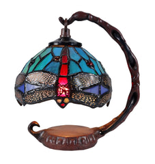 Blue Dragonfly Mini Tiffany Stained Glass Night Lamp