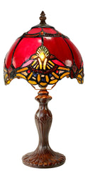 "Stunning 8"" Red Baroque Style curved Glass Tiffany Mini Lamp"