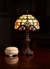 "Stunning 8"" Beige  Baroque Style Tiffany Mini Lamp"