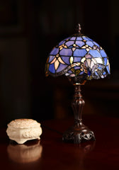 "Stunning 8"" Blue  Baroque Style Tiffany Mini Table Lamp"