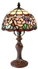 "Elegant  8"" Floral Style Tiffany Mini Table Lamp"