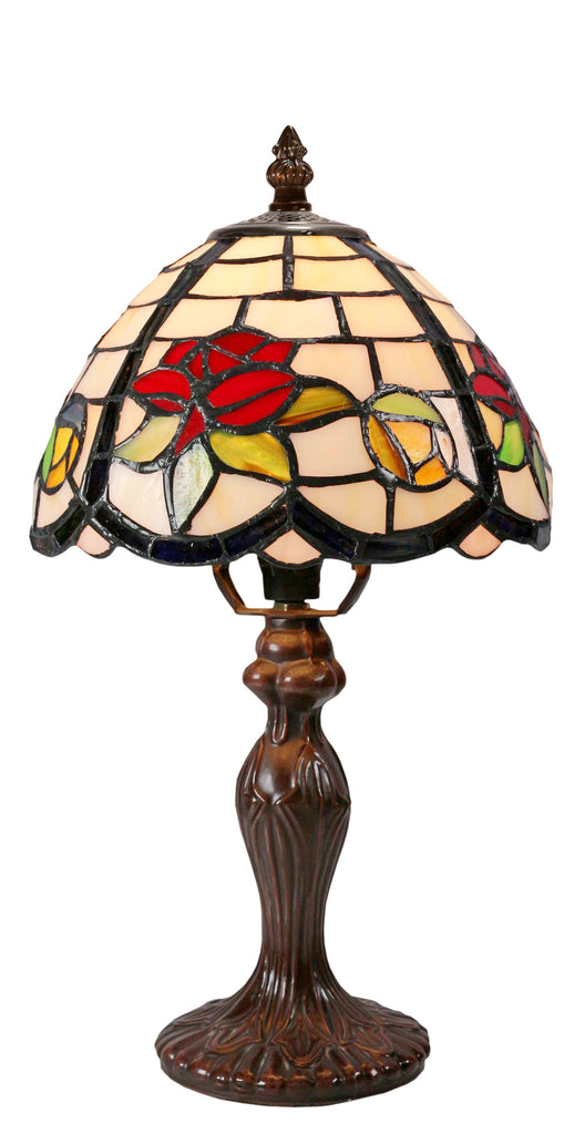 "Stunning 8"" Flower and Leaf Style Tiffany Mini Table Lamp"