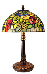 "Limited Edition ""Exquisite 10"" @10"" wide Flower Style Iris Tiffany Bedside Lamp"