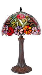 "12"" Colorful Traditional Dragonfly Style Daisy Flower Tiffany Bedside Lamp"