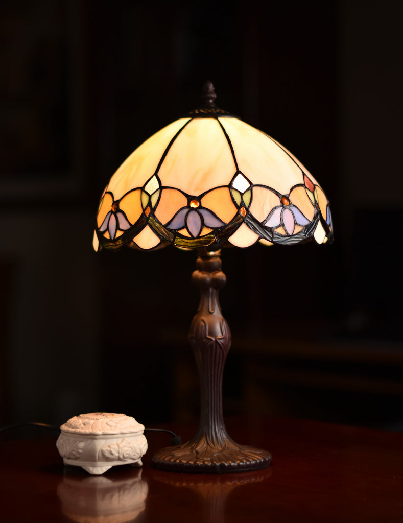 "12"" Wisteria Style Leadlight Stained Glass Tiffany Bedside Lamp"
