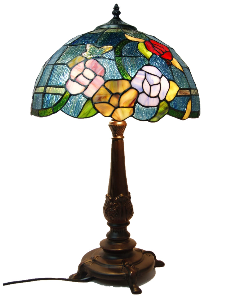 Large  Red Purple Yellow Rose Style Tiffany Table Lamp