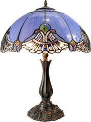 "Large 16"" Baroque Accent  Style Stained Glass Leadlight Tiffany  Table Lamp"