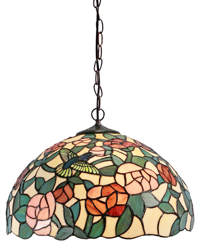 "16"" Hummingbird Rose Style Stained Glass Leadlight Tiffany Pendant Light"