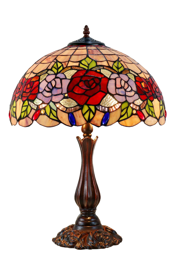 "16"" Large Blossoming Rose Tiffany Table Lamp"