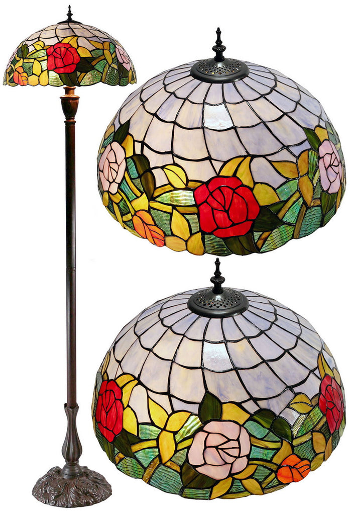 "Large 18"" Romantic Rose Style Stained Glass Tiffany Floor Lamp"