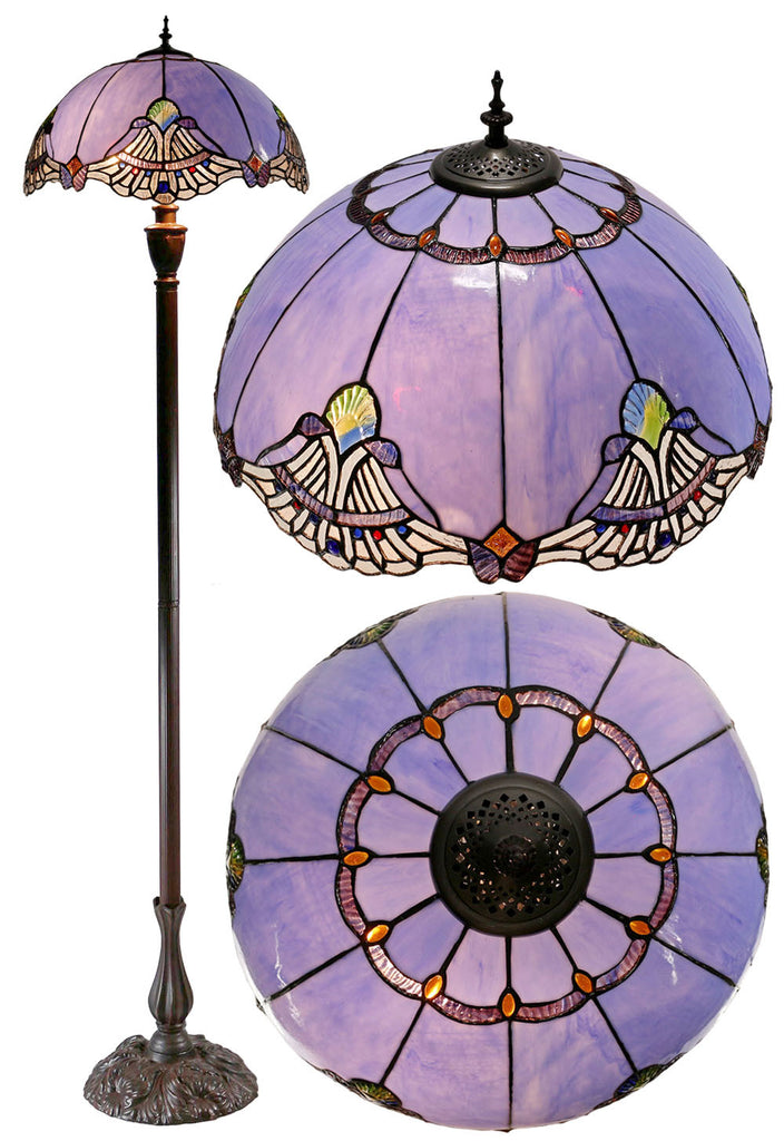 "Stunning 18"" Baroque Accent Tiffany Floor Lamp"
