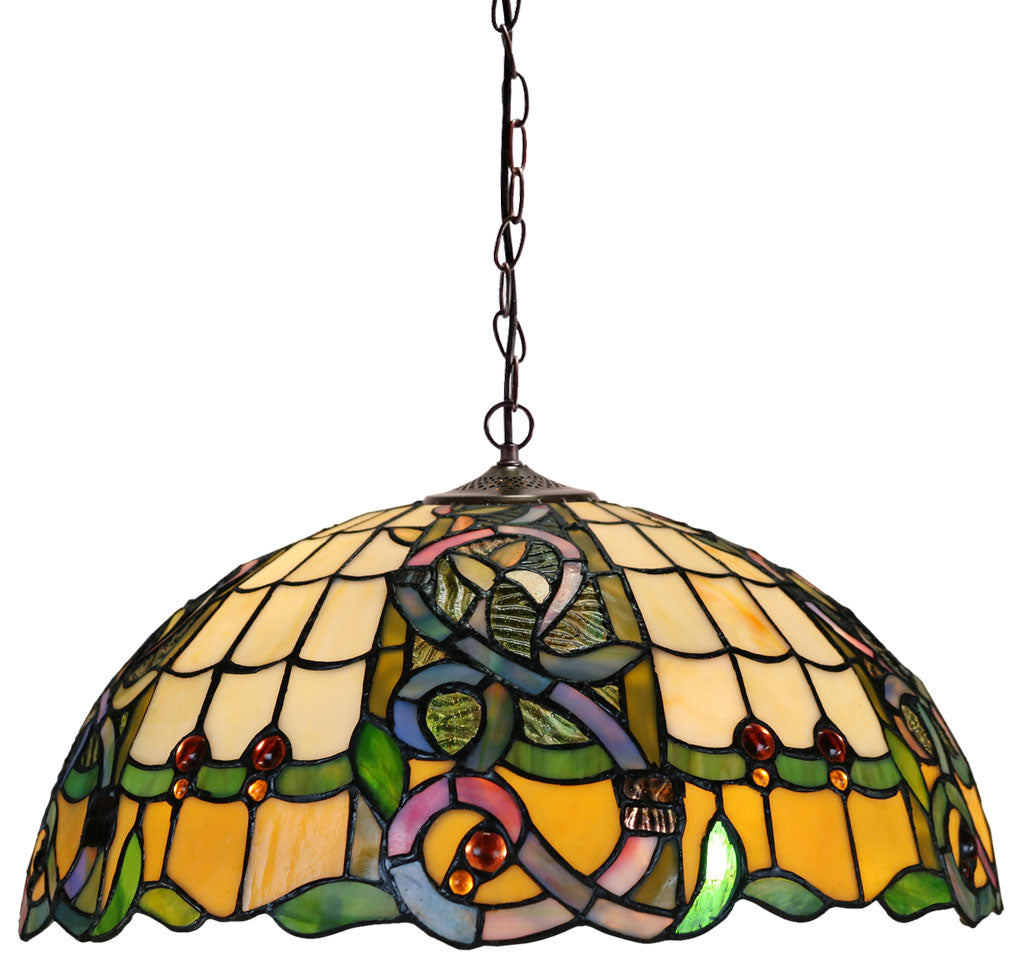 "Large 18""  Leaf Ribbon Style  Stained Glass Leadlight Tiffany Pendant Light"