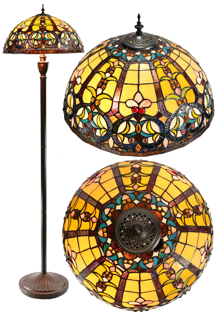 "Large 18"" Victorian Ornamental Tiffany Style Floor Lamp"