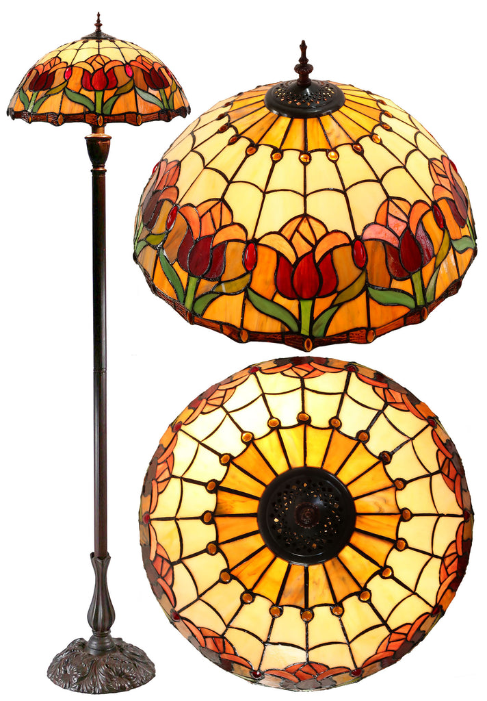 "18"" Colonial Tulip Style Leadlight Tiffany Floor Lamp"