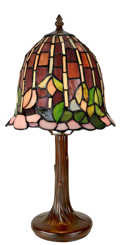 "Fabulous  8"" Water Lily Style Glass Tiffany Mini Lamp"