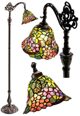 Vivid Buterfly Leadlight Stained Glass Bridge Arm Tiffany  Floor Lamp
