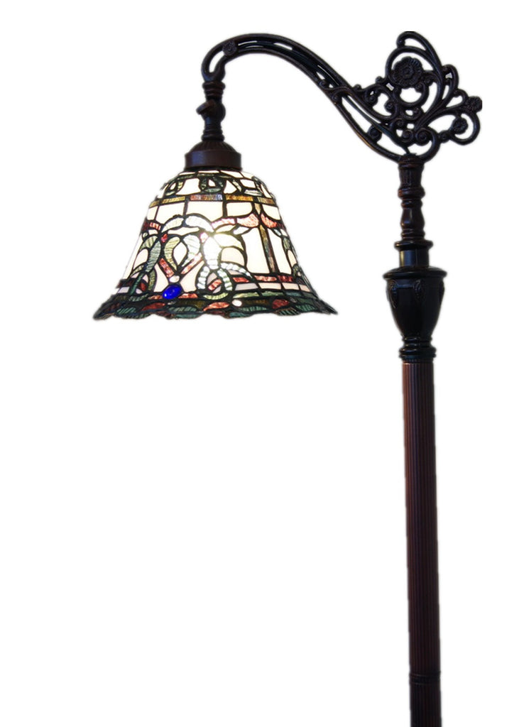 Victorian Style Leadlight Stained Glass Bridge Arm Tiffany  Floor Lamp