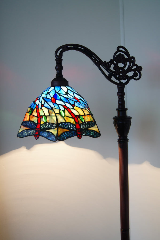 Spiral Blue Dragonfly Style Leadlight Stained Glass Bridge Arm Tiffany  Floor Lamp