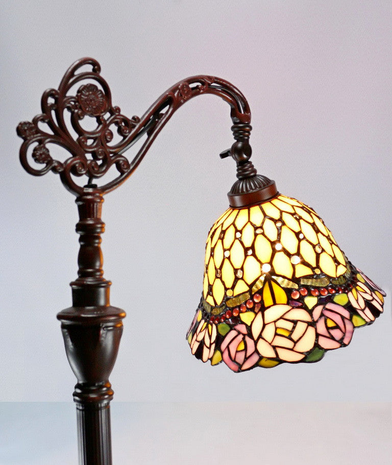 Jeweled Rose Leadlight Stained Glass Bridge Arm Tiffany  Floor Lamp