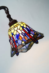 Dragonfly Style Leadlight Stained Glass Bridge Arm Tiffany  Floor Lamp