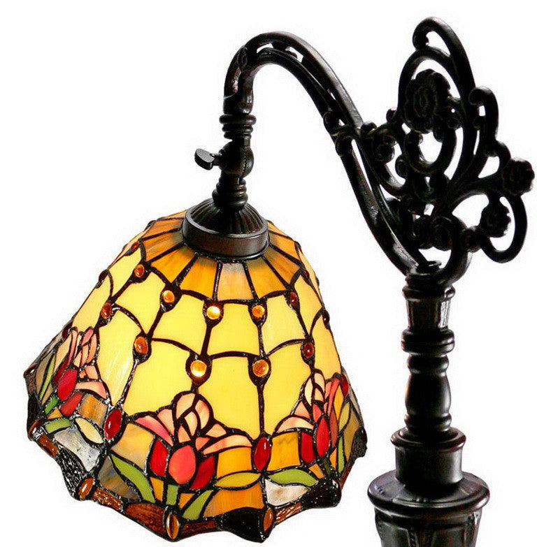 Colonial Tulip Style Leadlight Stained Glass Bridge Arm Tiffany  Floor Lamp