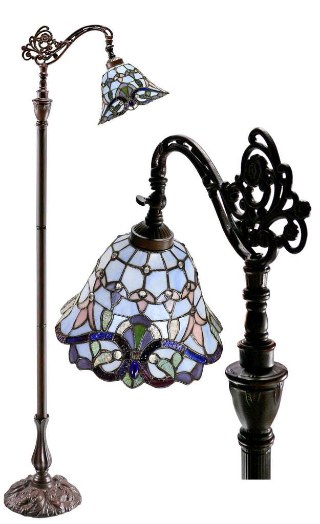 Blue Victorian Leadlight Stained Glass Bridge Arm Tiffany  Floor Lamp