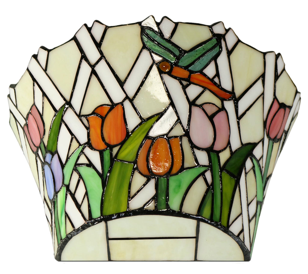 Dragonfly Flying on Tulip Stained Glass Tiffany Wall Light Wall Scone