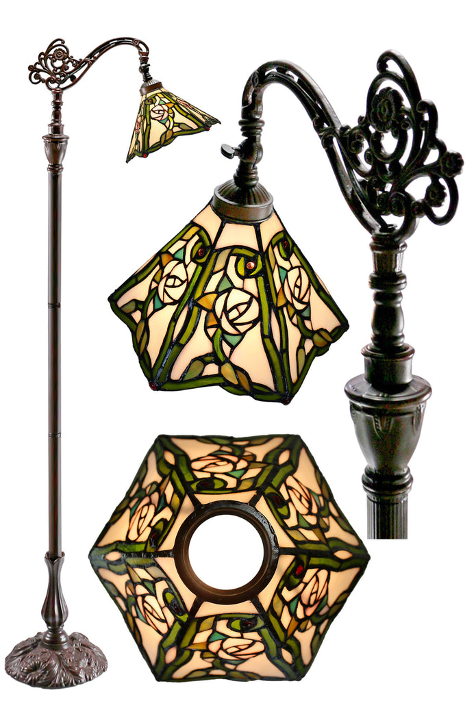 Rose Style Hexagon shade Leadlight Stained Glass Bridge Arm Tiffany  Floor Lamp