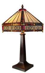 Tiffany Lamp Hexagon Shade Stained Glass Table Lamp  with Intricate Filigree Accent