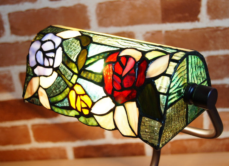 Romantic Rose Style Tiffany Banker Lamps
