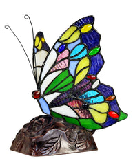 Colorful Butterfly  Tiffany Leadlight Stained Glass Art Deco Table Lamp