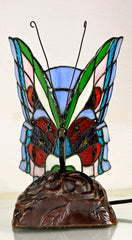 Multip-color Butterfly  Tiffany Leadlight Stained Glass Art Deco Table Lamp