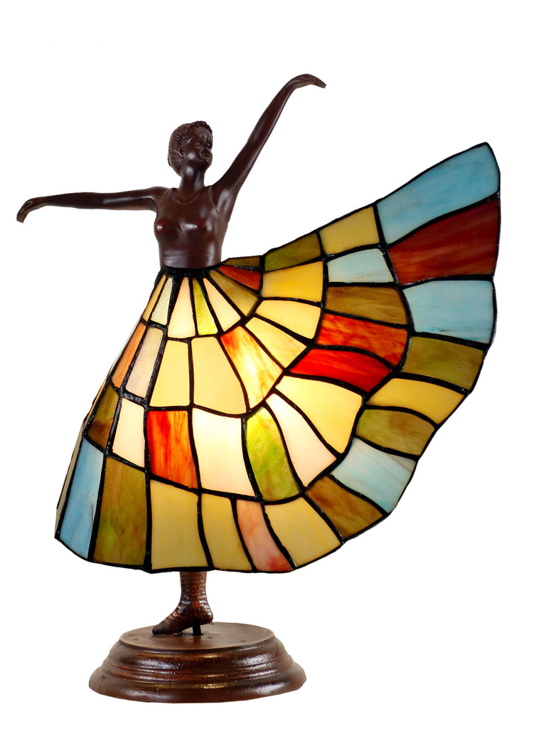 Art Deco Dancer Figurines Tiffany Stained Glass Accent Lamp Joanne