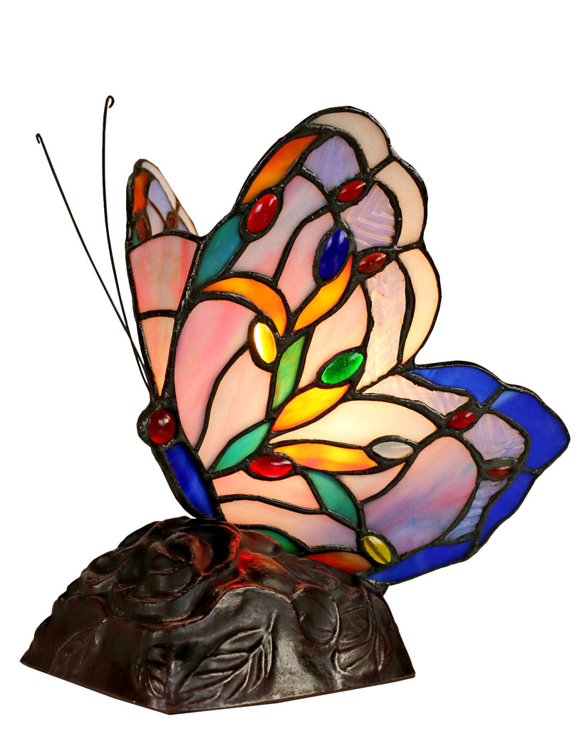 Elegant Blue Purple Butterfly  Tiffany Leadlight Stained Glass Art Deco Table Lamp