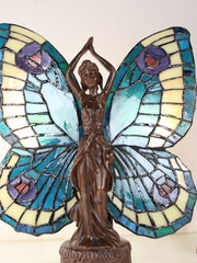 Vivid Fairy Angel Lady  Tiffany Stained Glass  Figurine Art Deco Lamp