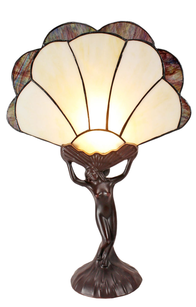 Art Deco Lady Figurines Tiffany Stained Glass Accent Lamp
