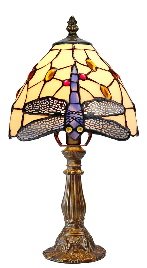 "Classical 8"" Beige color Dragonfly Style Tiffany Mini Table Lamp"