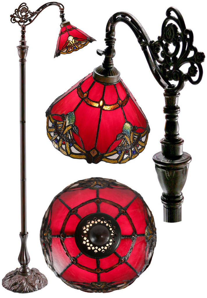 Red Jewel Carousel Style Leadlight Stained Glass Bridge Arm Tiffany  Floor Lamp