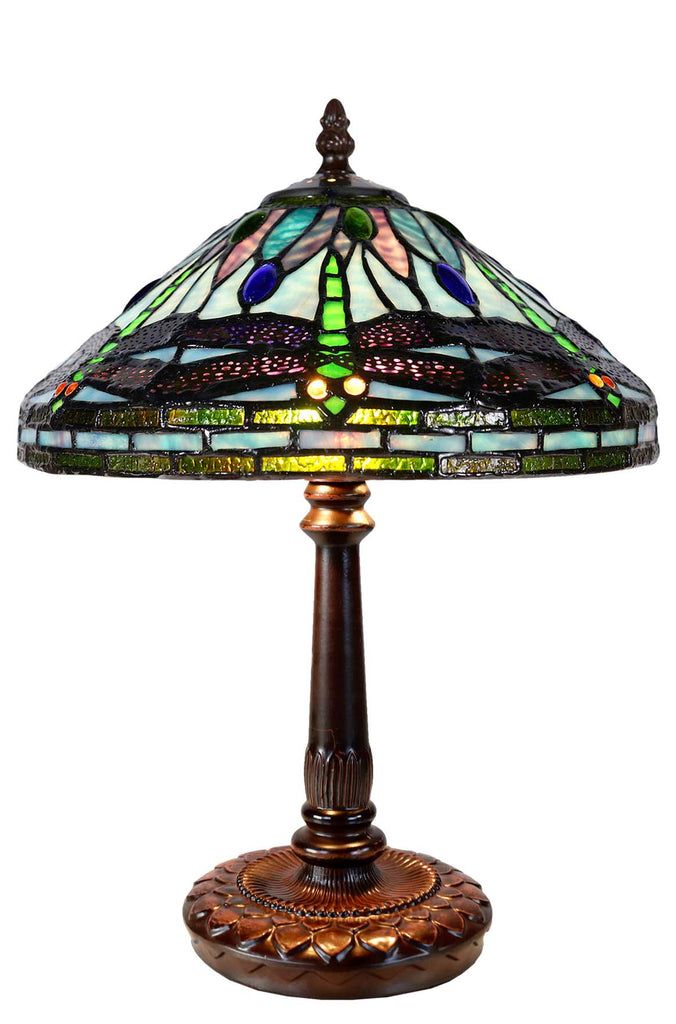 "Limited Edition ""Exquisite 10"" @10"" wide Dragonfly Style Iris Tiffany Bedside Lamp"