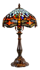 "11"" Red and  Blue Dragonfly Style Tiffany Bedside Lamp"