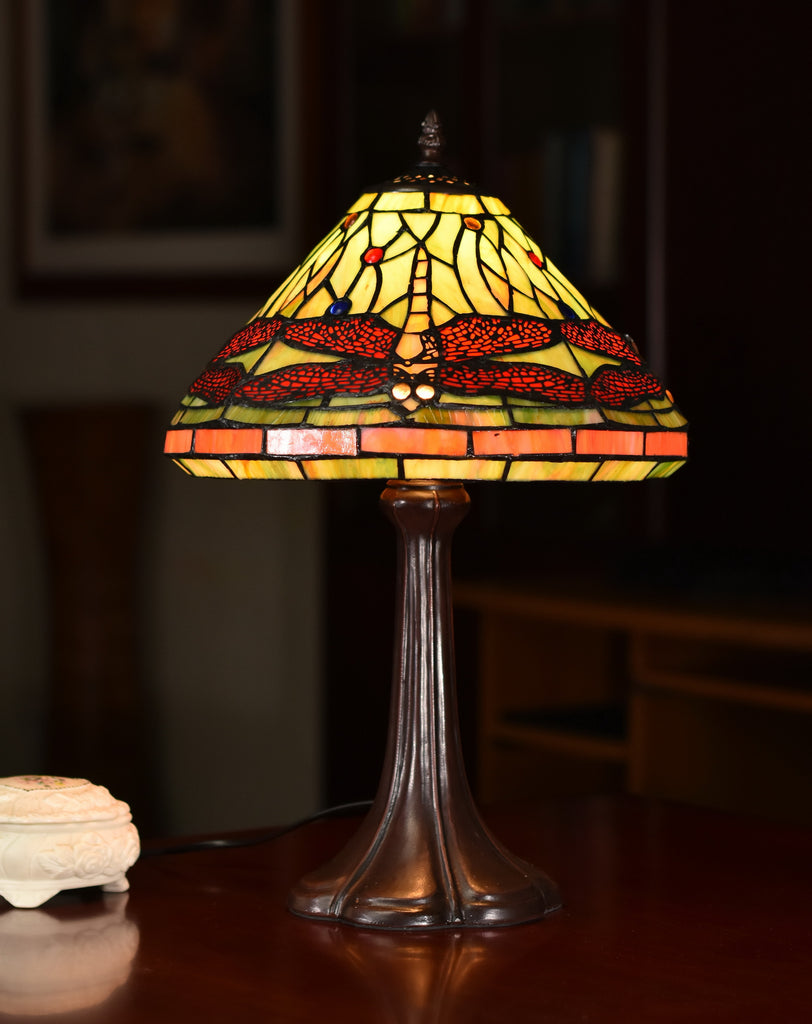 "12""  Classical Dragonfly Style Tiffany Bedside Lamp"