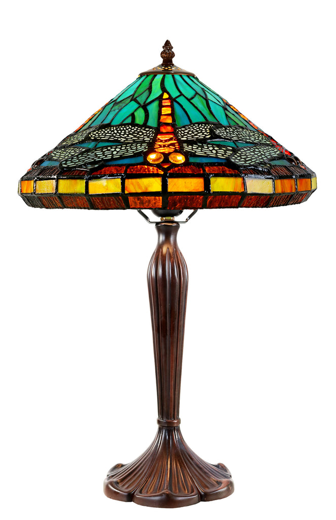 "12"" Sky  Blue Red Dragonfly Style Tiffany Bedside Lamp"