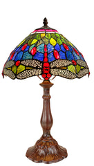 "12""  Classical Blue, Green Red Dragonfly Style Tiffany Bedside Lamp"
