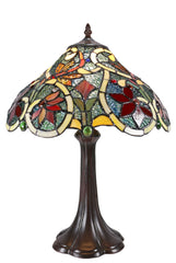 "14"" Golden Dragonfly Style Leadlight Stained Glass Tiffany Bedside Lamp"