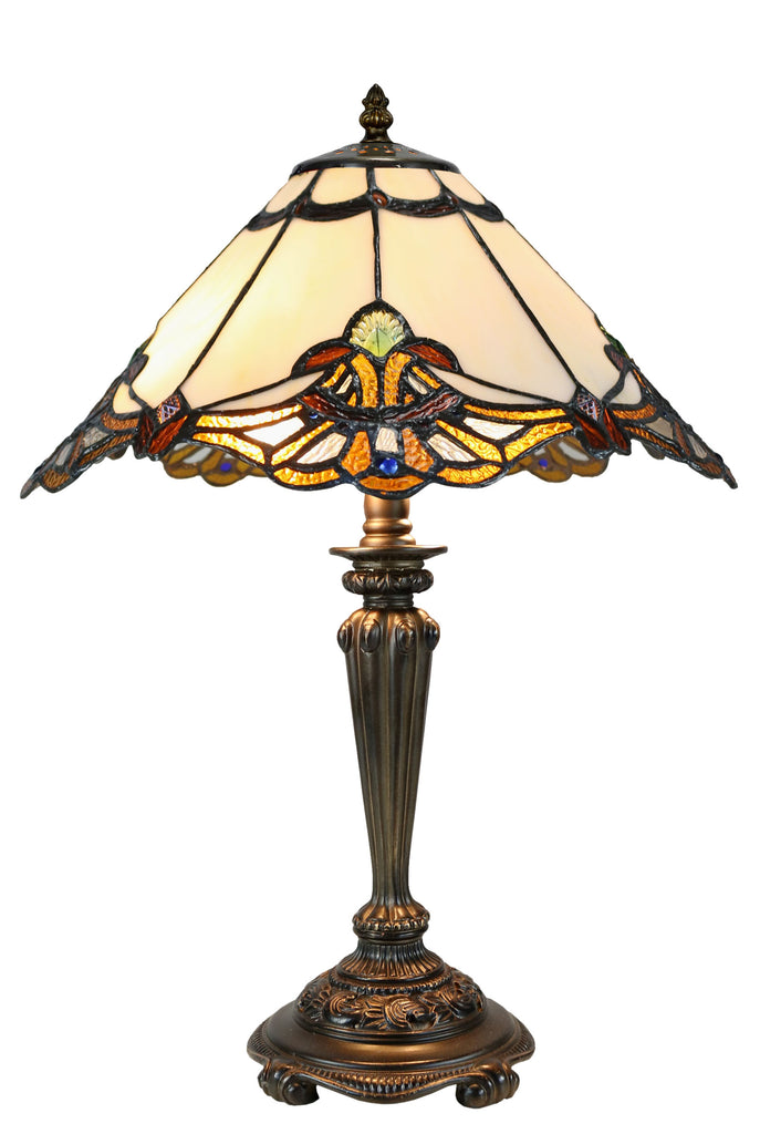 "14"" Beige Jewel Carousel Tiffany Bedside Lamp"