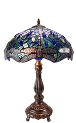 "14"" Large  Blue dragonfly Style Tiffany Table Lamp"