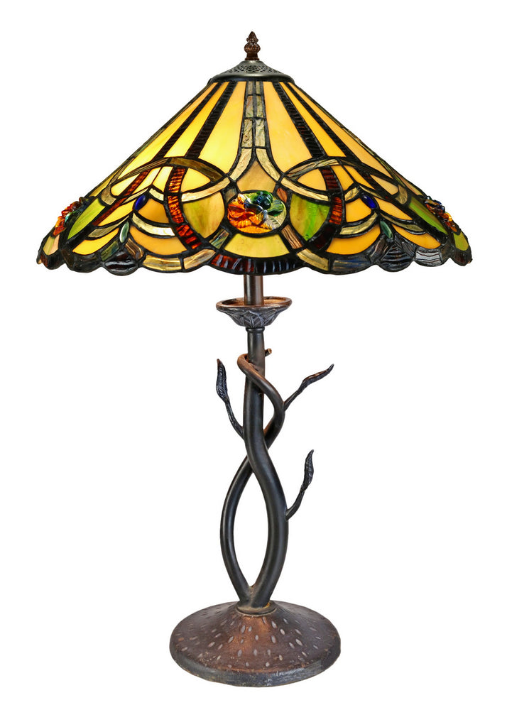 "16"" Large Victorian Ribbon Tiffany Table Lamp Country and Rustic Style Iron base"