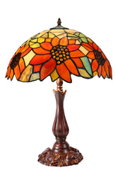 "16"" Large Sunflower Style Tiffany Table Lamp"