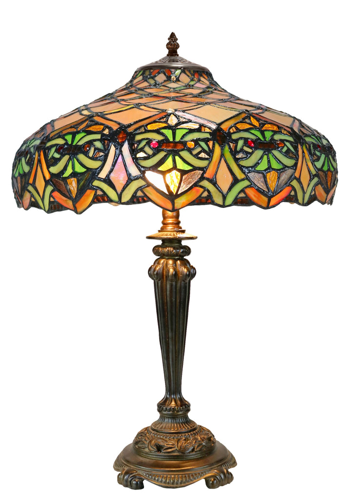 "16"" Large Victorian Ribbon  Style Tiffany Table Lamp"